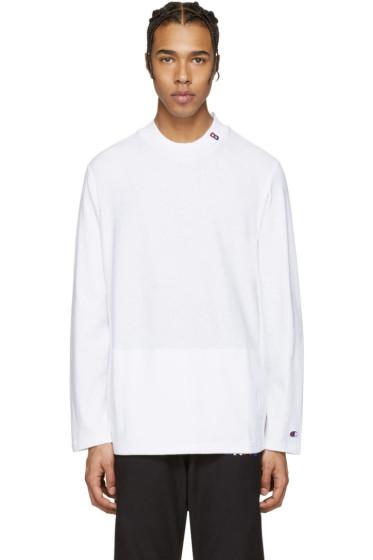 Champion x Beams - White Mockneck Logo Pullover