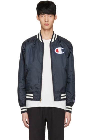 Champion Reverse Weave - Reversible Navy Logo Bomber Jacket