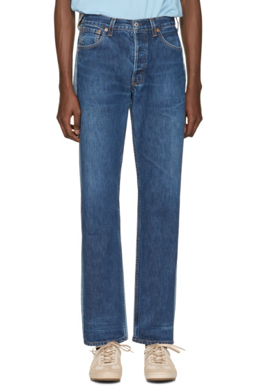 Bless - Blue Colorblock Pleatfront Jeans