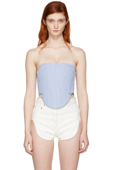 Y/Project - Blue Striped Turnup Popper Shirt