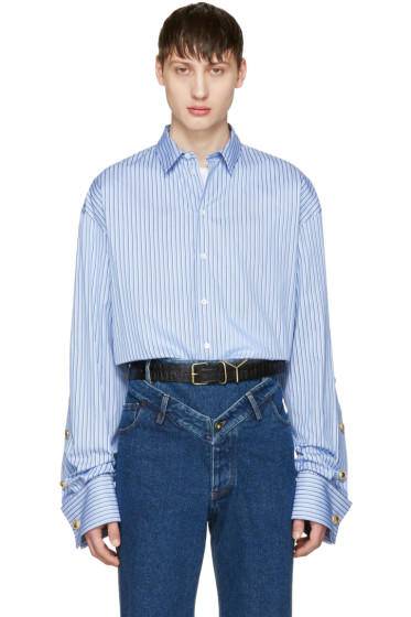Y/Project - Blue Oversized Striped Shirt