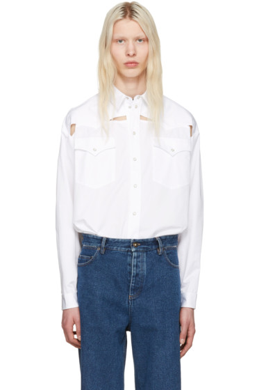 Y/Project - White Oversized Cut-Out Shirt