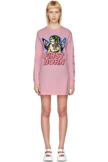 Ashley Williams - Pink 'First Born' Cherub T-Shirt Dress