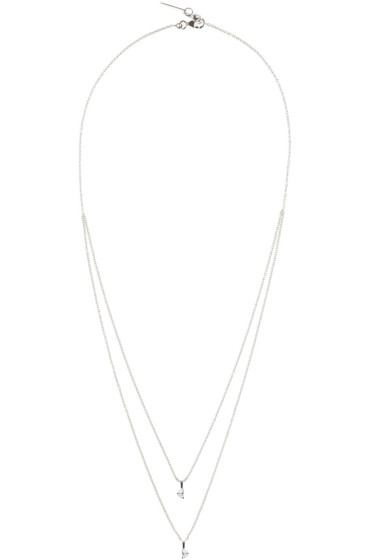 Maison Margiela Fine Jewellery - White Gold Crescent Diamond Solitaire Bisected Necklace
