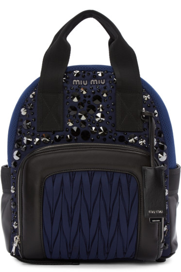 Miu Miu - Blue Nylon Matelassé Backpack