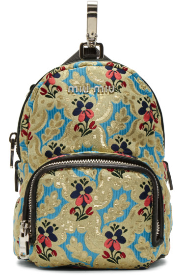 Miu Miu - Multicolor Tapestry Chain Backpack