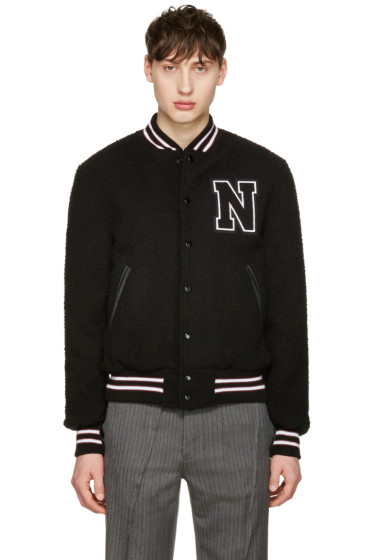 Noah NYC - Black Wool Teddy Varsity Bomber Jacket
