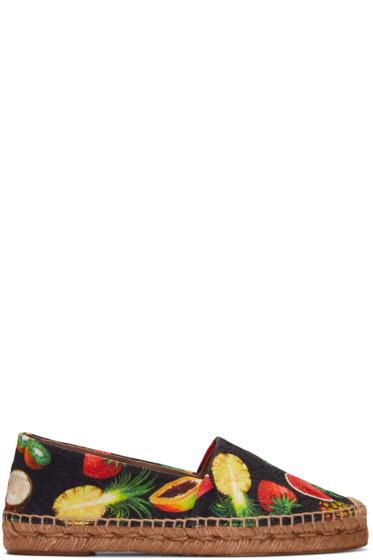 Dolce & Gabbana - Black Tropical Fruit Espadrilles