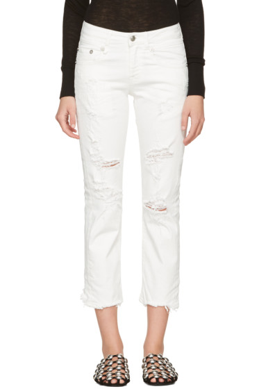 R13 - White Shredded Straight Boy Jeans