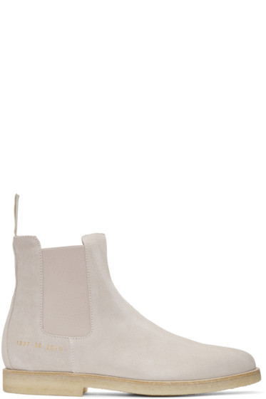 Common Projects - Pink Suede Chelsea Boots