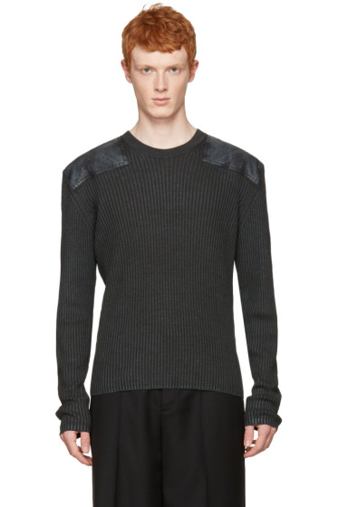 Maison Margiela - Grey Ribbed Patches Pullover