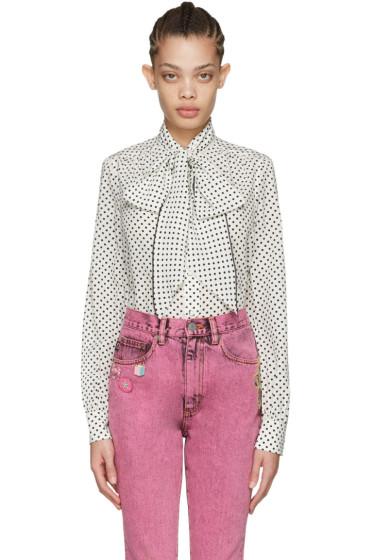 Marc Jacobs - Ivory Polka Dot Tie-Neck Shirt