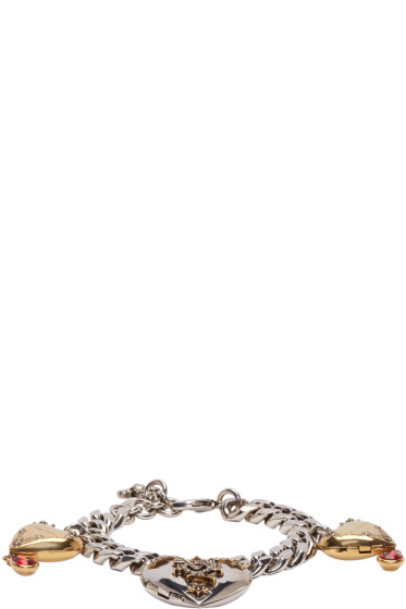 Alexander McQueen - Silver & Gold Heart Locket Bracelet