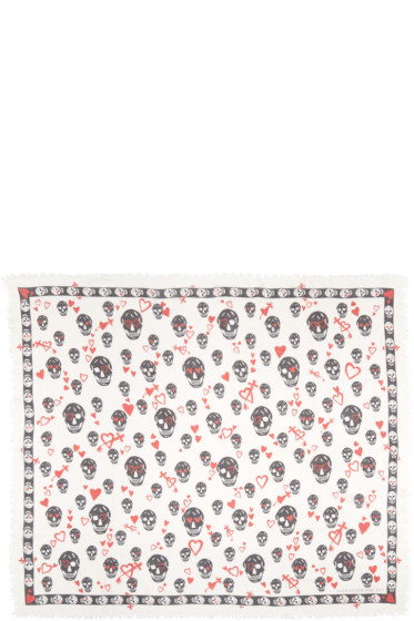 Alexander McQueen - Ivory Sweethearts Skull Scarf