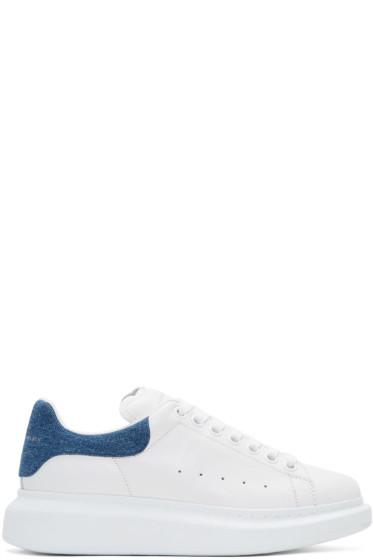 Alexander McQueen - White Denim Oversized Sneakers