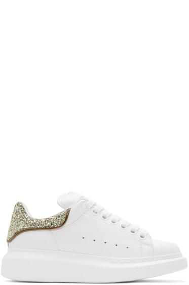 Alexander McQueen - White & Gold Glitter Oversized Sneakers