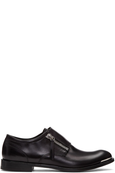 Alexander McQueen - Black Leather Zip Monkstraps