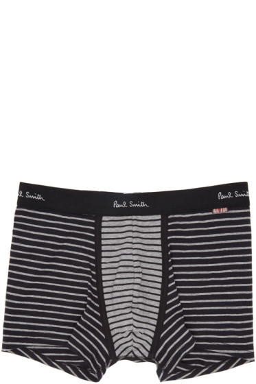 Paul Smith - Black & Grey Striped Boxer Briefs
