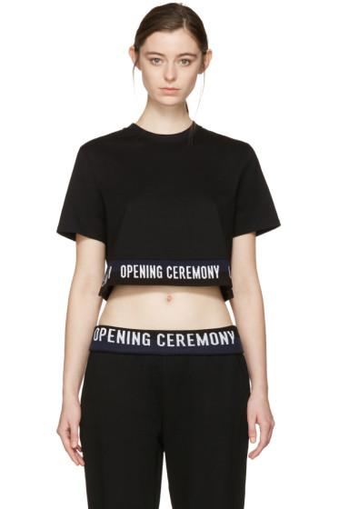 Opening Ceremony - Black Cropped Elastic Logo T-Shirt