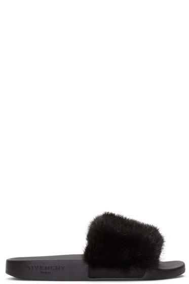 Givenchy - Black Mink Beach Slide Sandals
