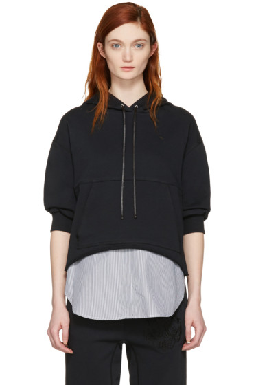 3.1 Phillip Lim - Black Combo Embroidered Hoodie