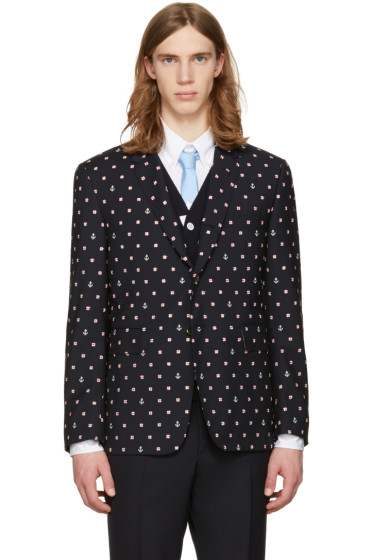 Thom Browne - Navy Classic Lifesaver & Anchor Blazer