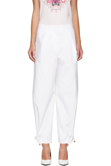Kenzo - White High Waisted Tapered Trousers
