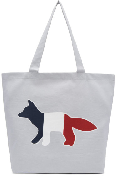 Maison Kitsuné - Grey Tricolor Fox Tote