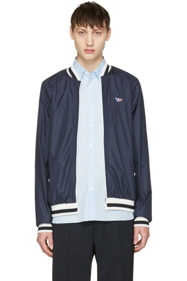 Maison Kitsuné - Navy Tricolor Fox Windbreaker Bomber Jacket