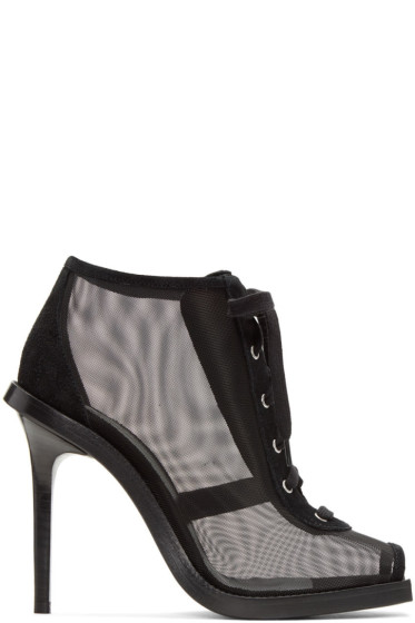 Versus - Black Mesh & Suede Lace-Up Boots