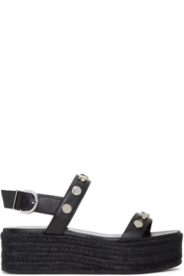 Versace - Black Flatform Espadrille Sandals