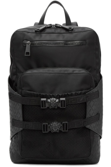 Versace - Black Nylon Zip Backpack