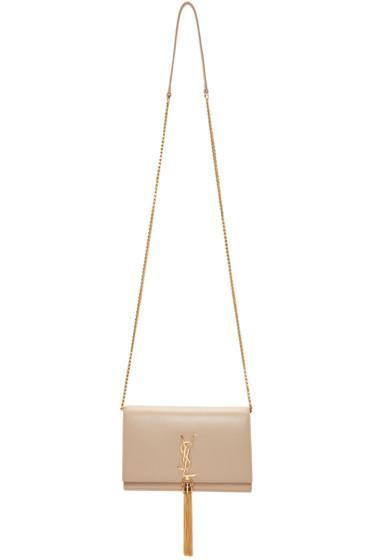 Saint Laurent - Beige Monogram Kate Chain Wallet Bag
