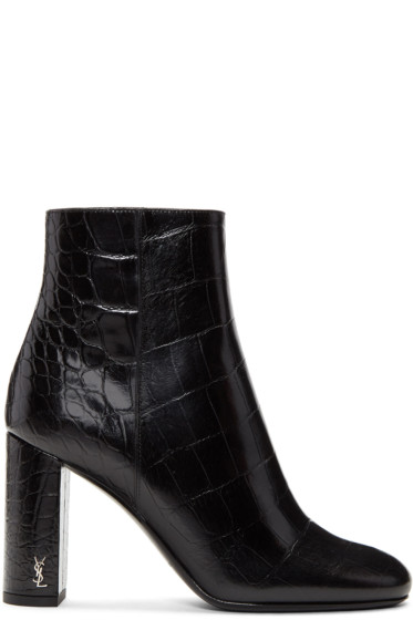 Saint Laurent - Black Croc-Embossed Loulou Boots