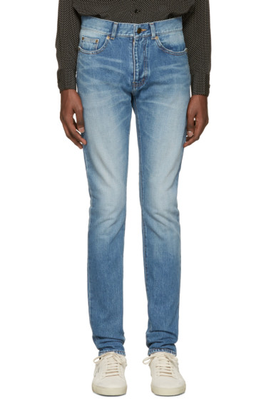 Saint Laurent - Blue Low-Waisted Skinny Jeans