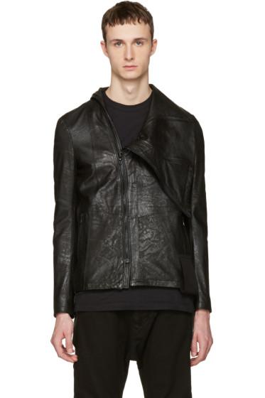 Julius - Black Nubuck Slashing High-Neck Jacket