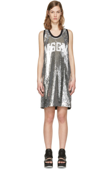 MSGM - Silver Sequin Tank Dress