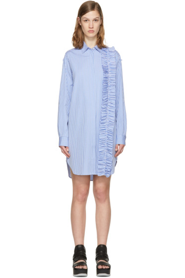 MSGM - Blue Ruffle Shirt Dress