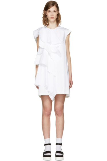 MSGM - White Ruffle Poplin Dress