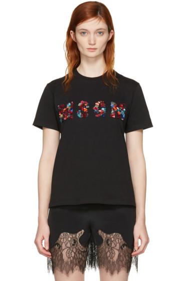 MSGM - Black Sequin Logo T-Shirt