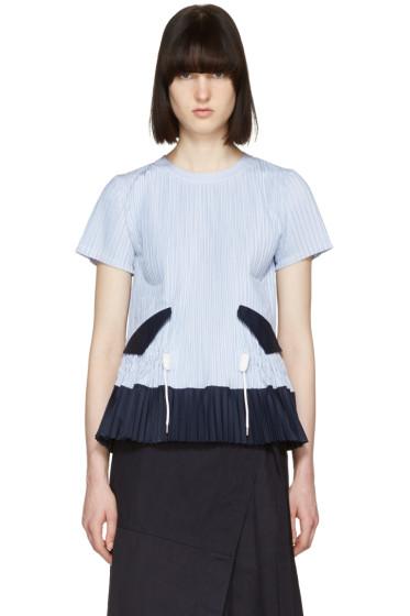 Sacai - Blue Striped Pleated Shirting Blouse