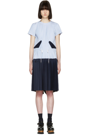 Sacai - Blue Striped Pleated Toggle Dress