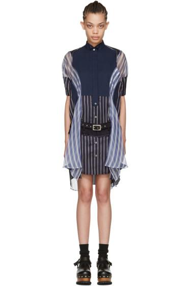 Sacai - Navy Striped Shirt Dress