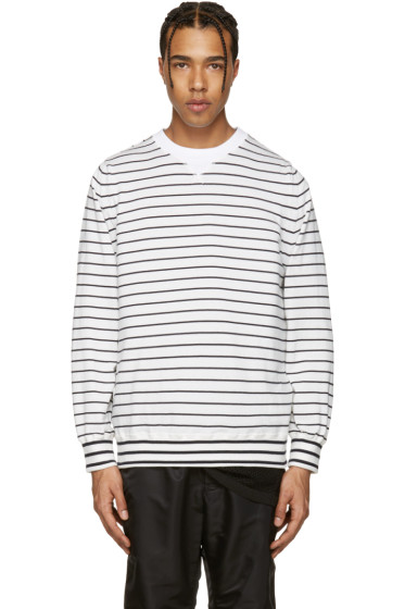 Sacai - Off-White Striped Pullover