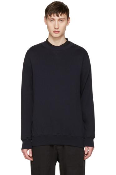 Sacai - Navy Cotton & Cashmere Pullover