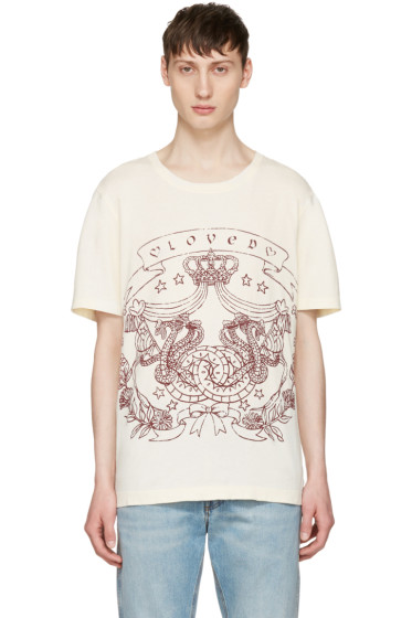 Gucci - Ivory 'Loved' Logo T-Shirt