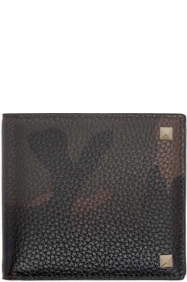 Valentino - Green Camo Rockstud Bifold Wallet
