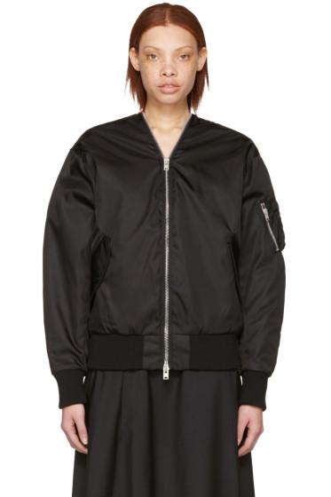 Yang Li - Black Zipped Bomber Jacket
