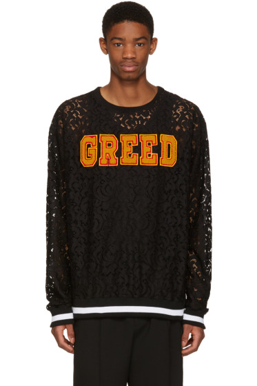 Pyer Moss - SSENSE Exclusive Black Lace 'Greed' Pullover