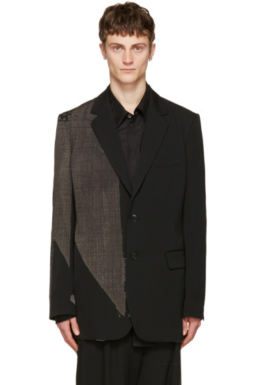 Yohji Yamamoto - Reversible Black Wool & Silk Printed Blazer